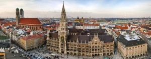 The panorama view of Munchen city centre with Marienplatz.
